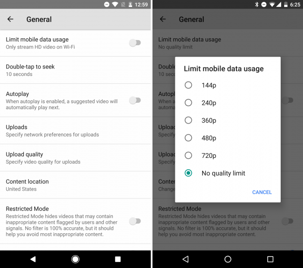 The YouTube app will soon limit the quality of videos to