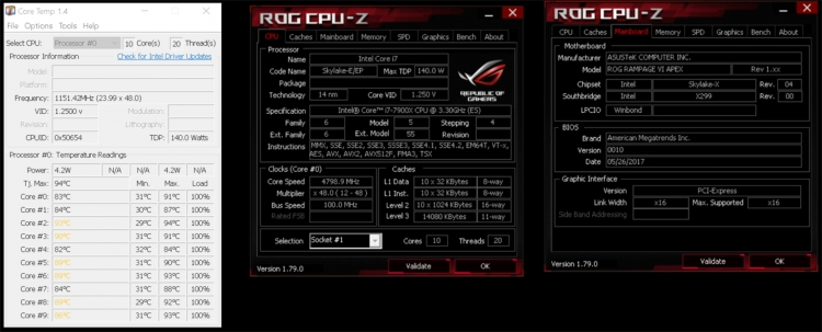 Overclocking Core i9-7900X neskalpirovannogo to 4.8 GHz