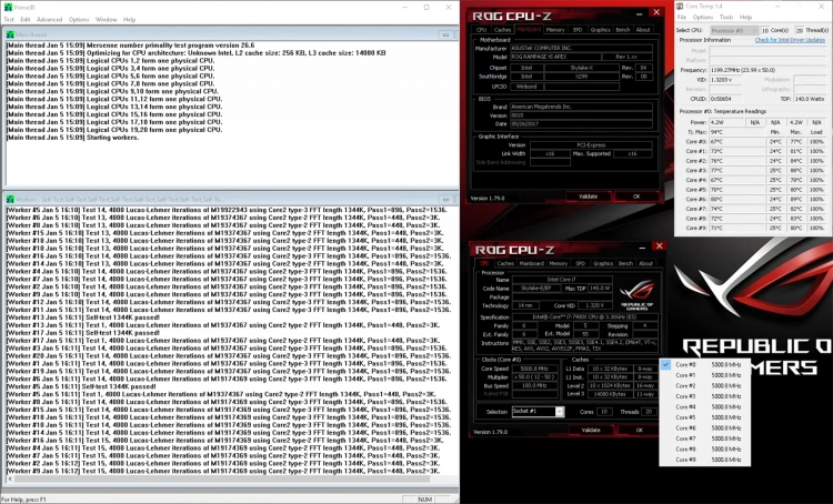 Acceleration scalped Core i9-7900X to 5.0 GHz
