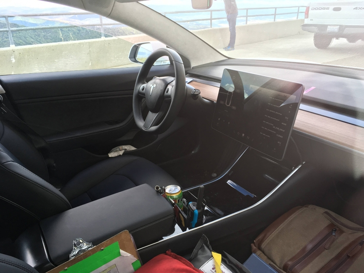 Interior Electric Car Tesla Model 3 Was Captured On Live Pictures